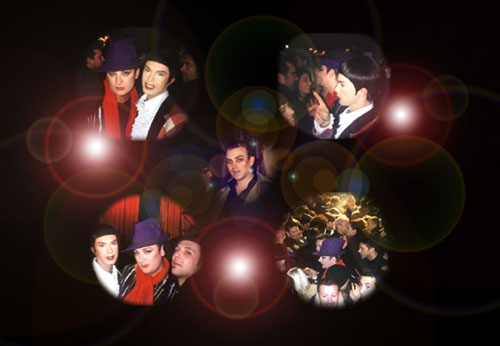 CImelio fotografico degli del party di Andrew McKanzie con Luca e Boy George