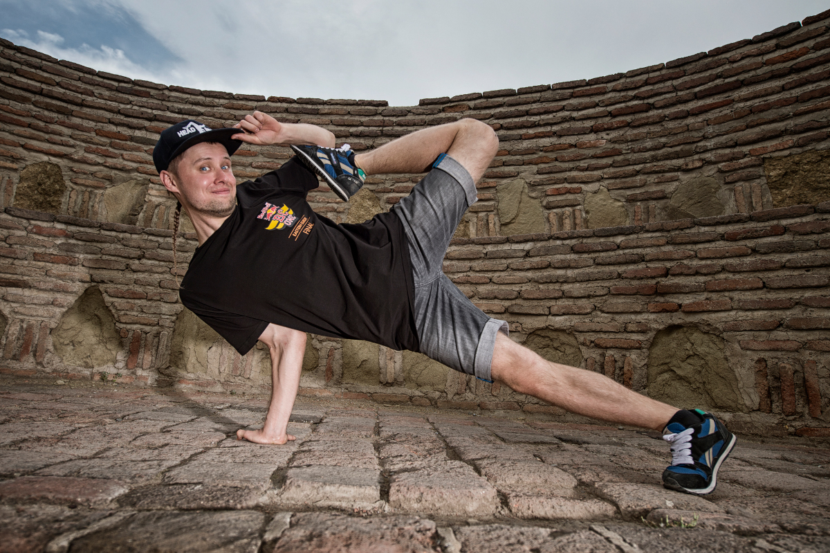 Killa Kolya from Kazakhstan poses for a photo at Narikala fortress overlooking Tbilisi, Georgia, after winning Red Bull BC One Eastern European Final on September 6th, 2015.