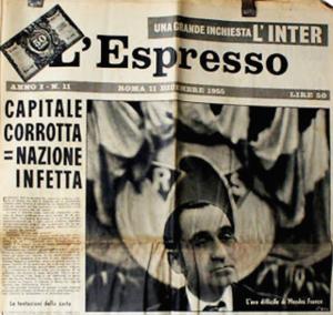 La storica prima pagina de L'Espresso del 1956, che potrebbe raccontare anche la Roma del 2015.
