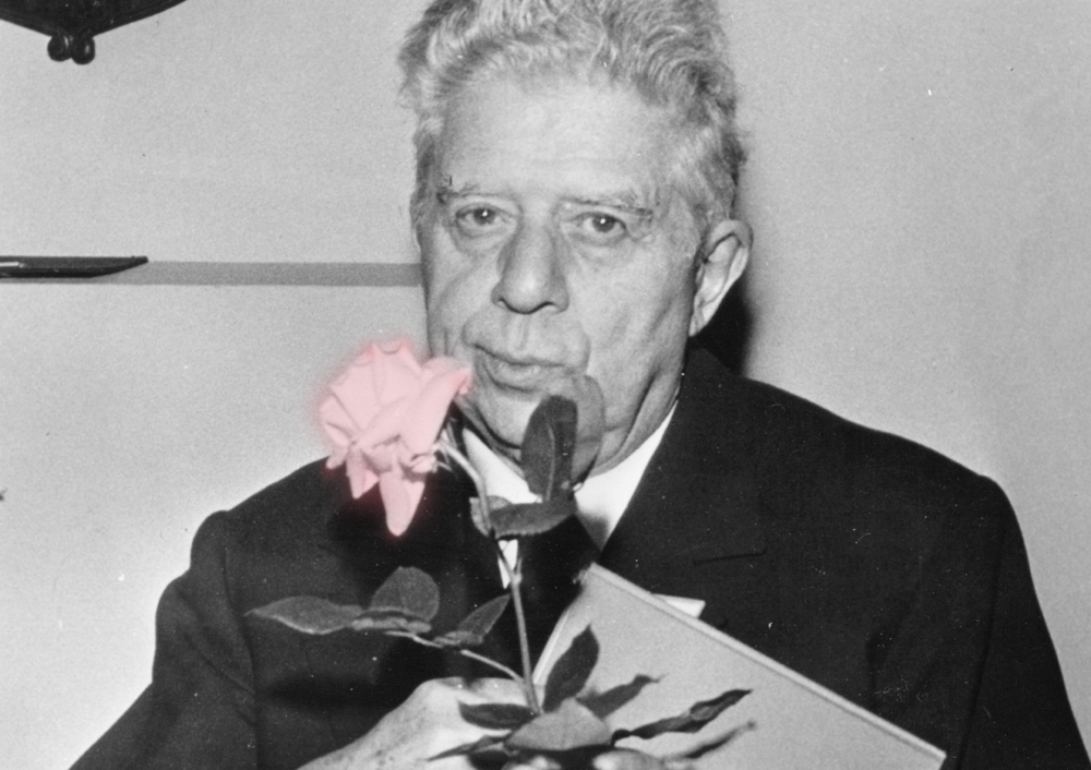 September 1972:  Italian poet Eugenio Montale, (1896 - 1981), at a flower show at Milan.  (Photo by Keystone/Getty Images)