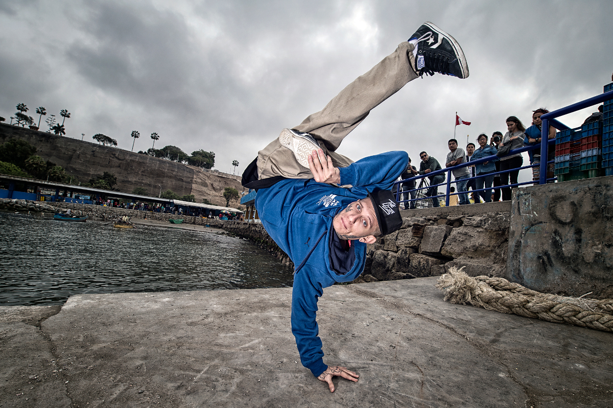 B-Boy Ratin from Brazil poses for a photo prior to Red Bull BC One Latin America Final at Chorrillo Harbor in Lima, Peru, on Ocotober 29, 2015.