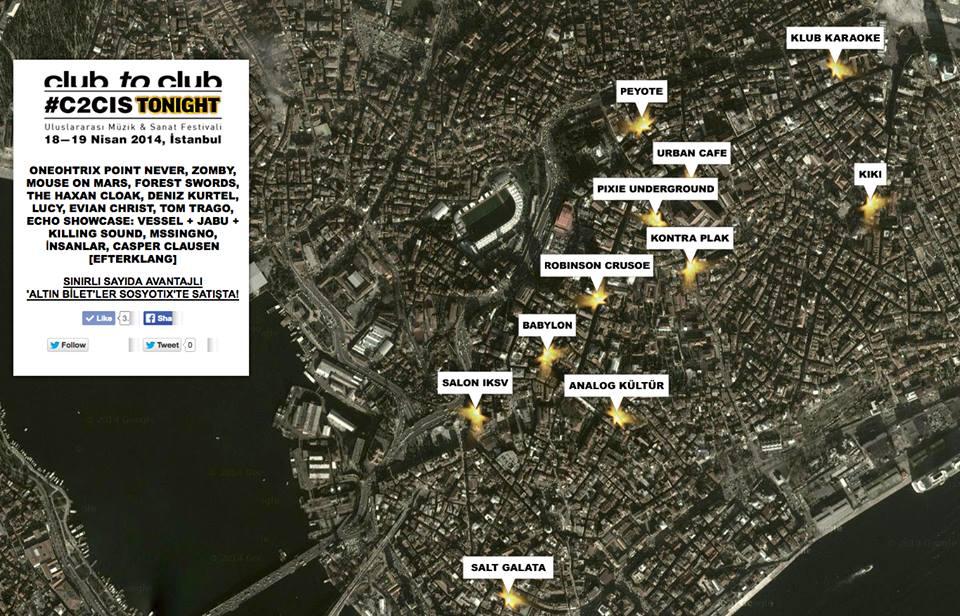 Alcuni nomi e la mappa con i locali di Club to Club Istanbul