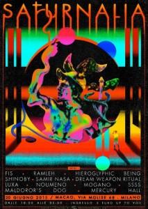 Saturalia: il flyer della seconda edizione, lo scorso giugno