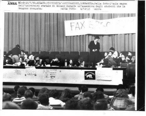 Assemblea alla Statale Occupata, 1990 (con Bertante)