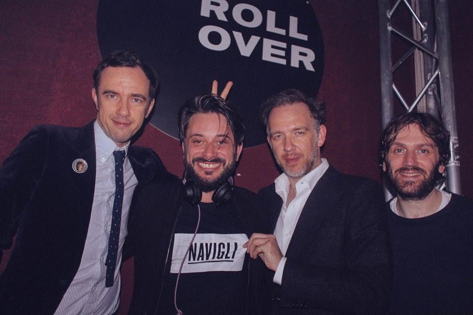 Tiberio con i 2 Many Djs e Simon Beckerman, founder di Depop al Cafè dei Binari