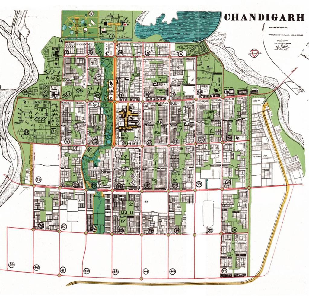 Il piano urbanistico della città di Chandigarh progettato da Le Corbusier