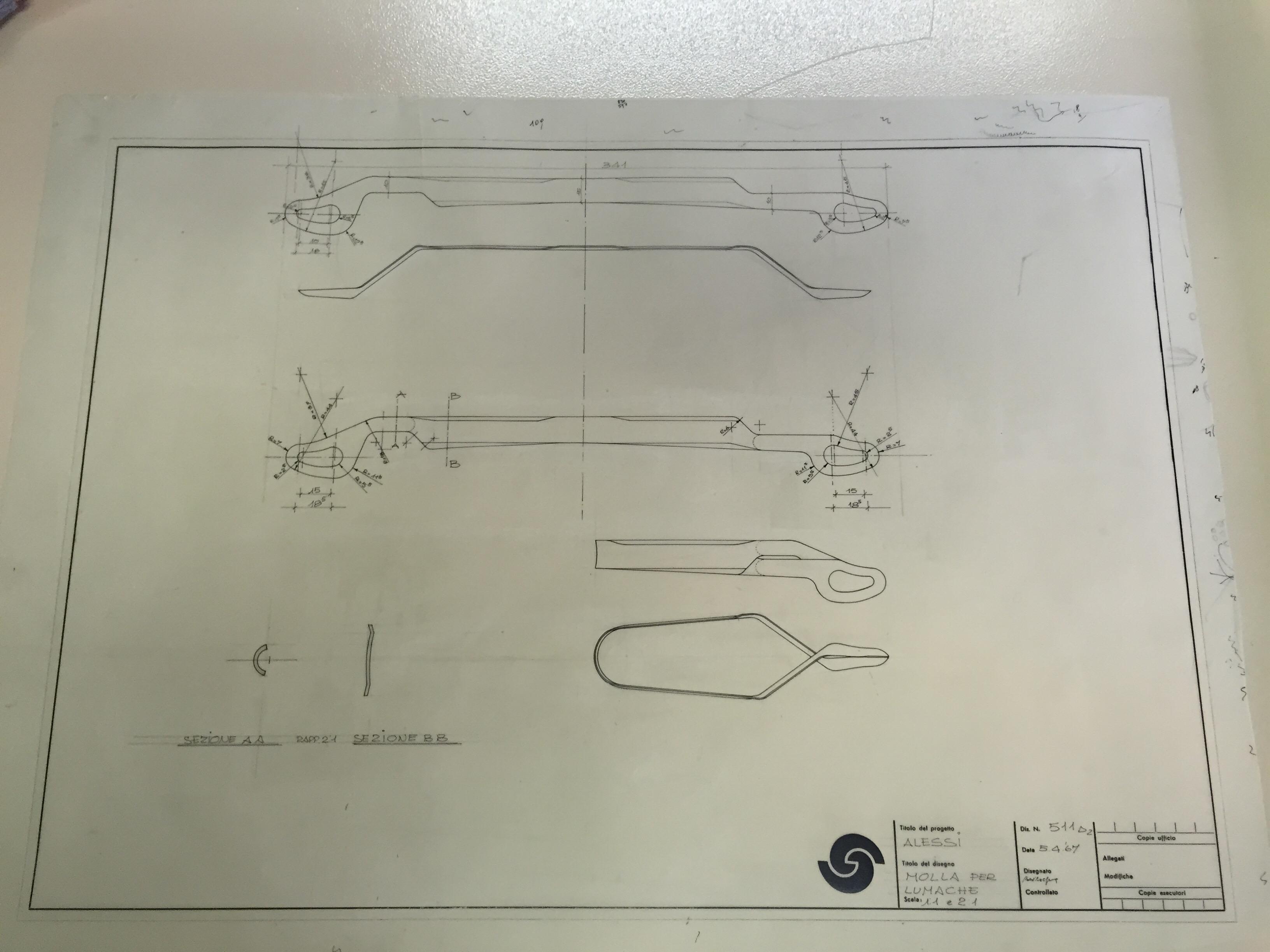 I disegni di Carlo Mazzeri per la progettazione della molla per lumache