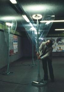 """Riconversione progettuale, """"Arcangeli metropolitani"""",  stazione Gioia della metropolitana di Milano, 1977"""