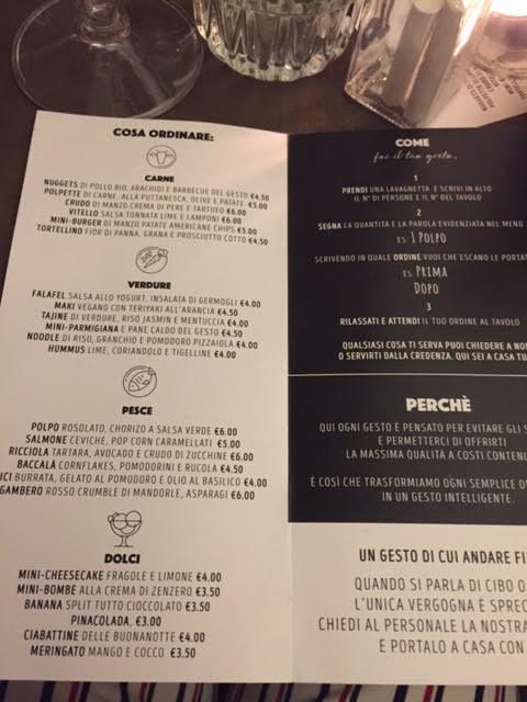 Il menu di Gesto