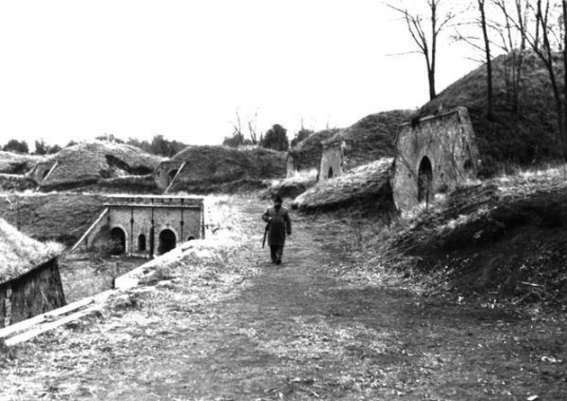 Il livello superiore del Forte Prenestino in una vecchia e rara foto d'epoca.