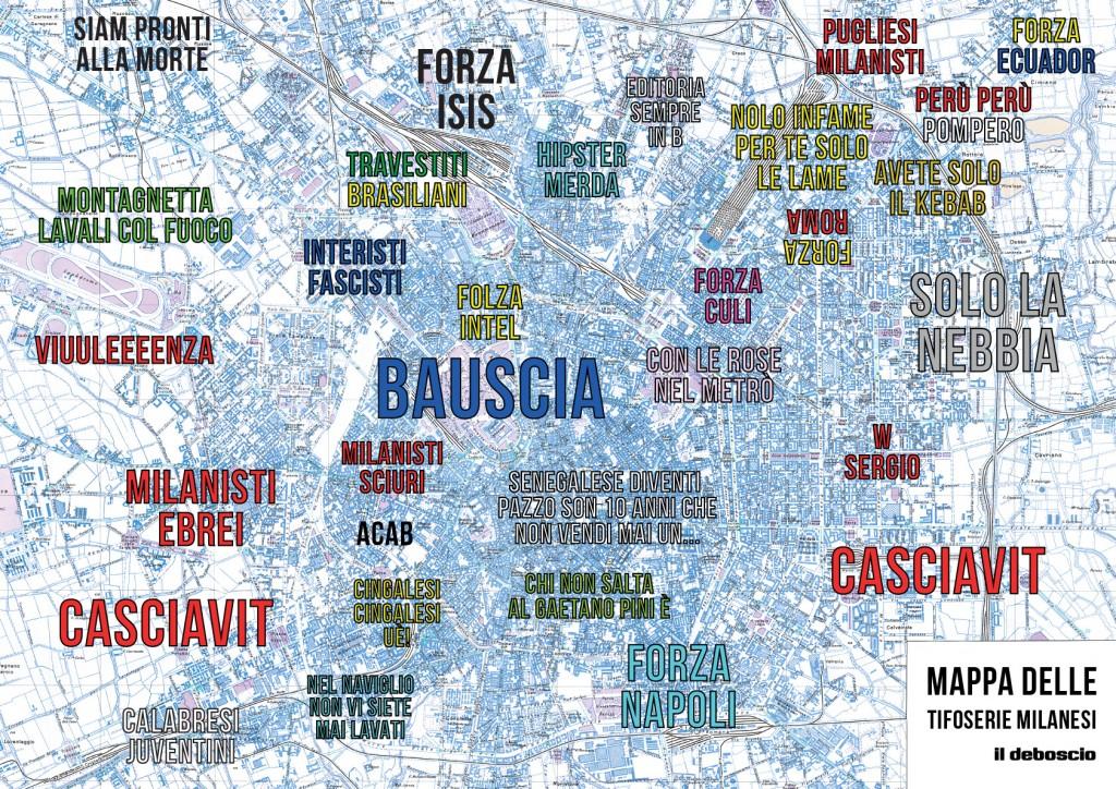 Mappa del tifo a Milano secondo il Deboscio