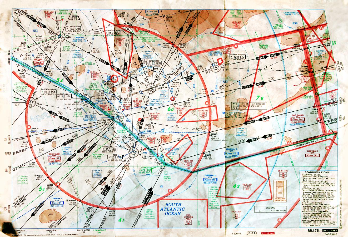 Sao Paulo, 2006 (mappa delle rotte degli elicotteri per gli spostamenti urbani)