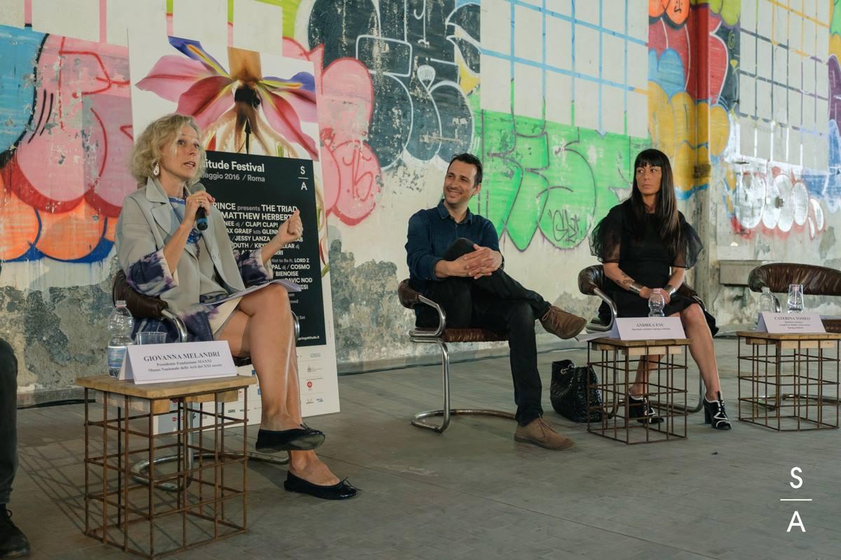 La conferenza stampa di Spring Attitude 2016. Nell'ordine, Giovanna Melandri, Andrea Esu, Caterina Tomeo.