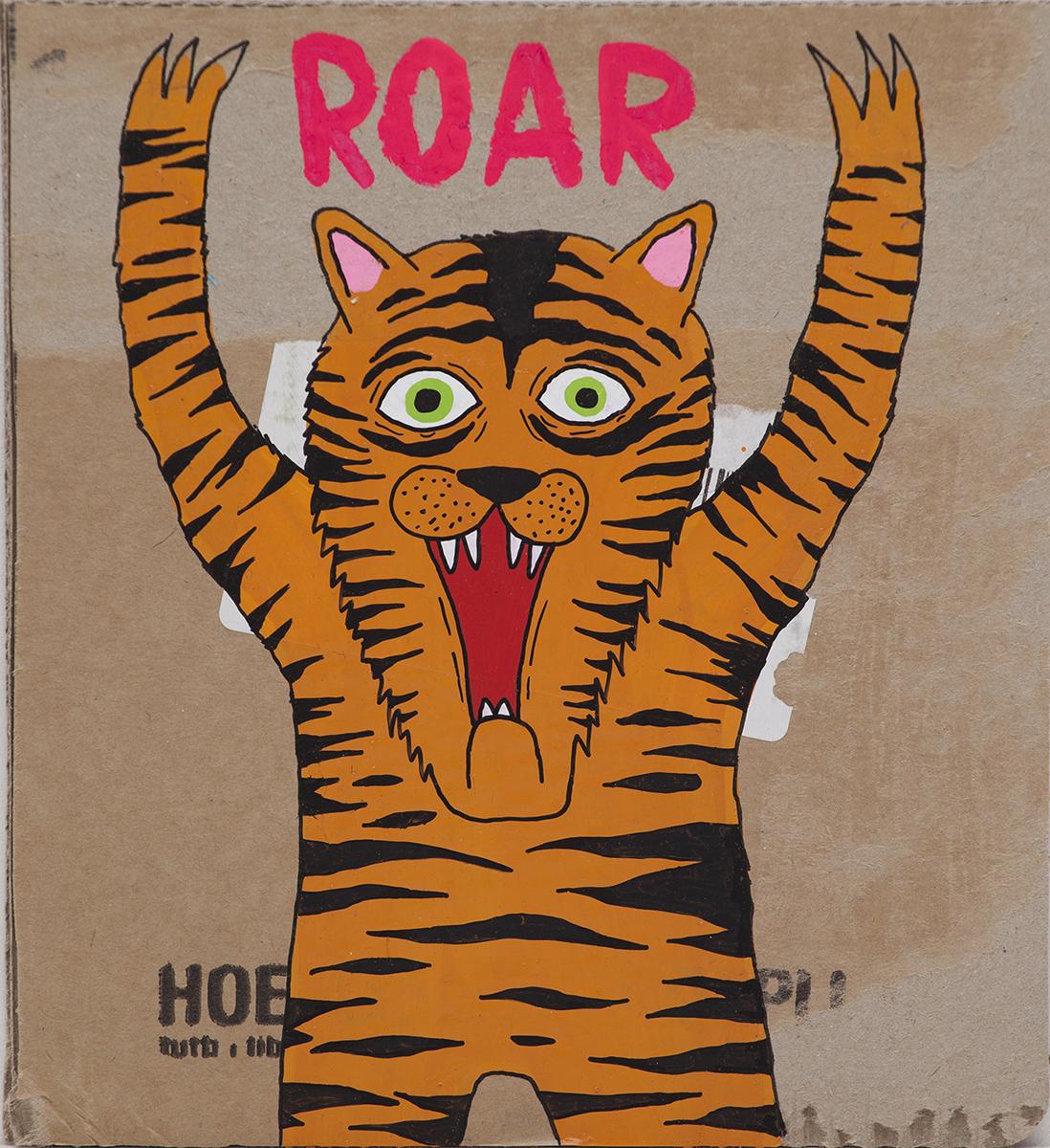 """""""Roar"""", tecnica mista su cartone, 20.5x18.5 cm, 2013"""