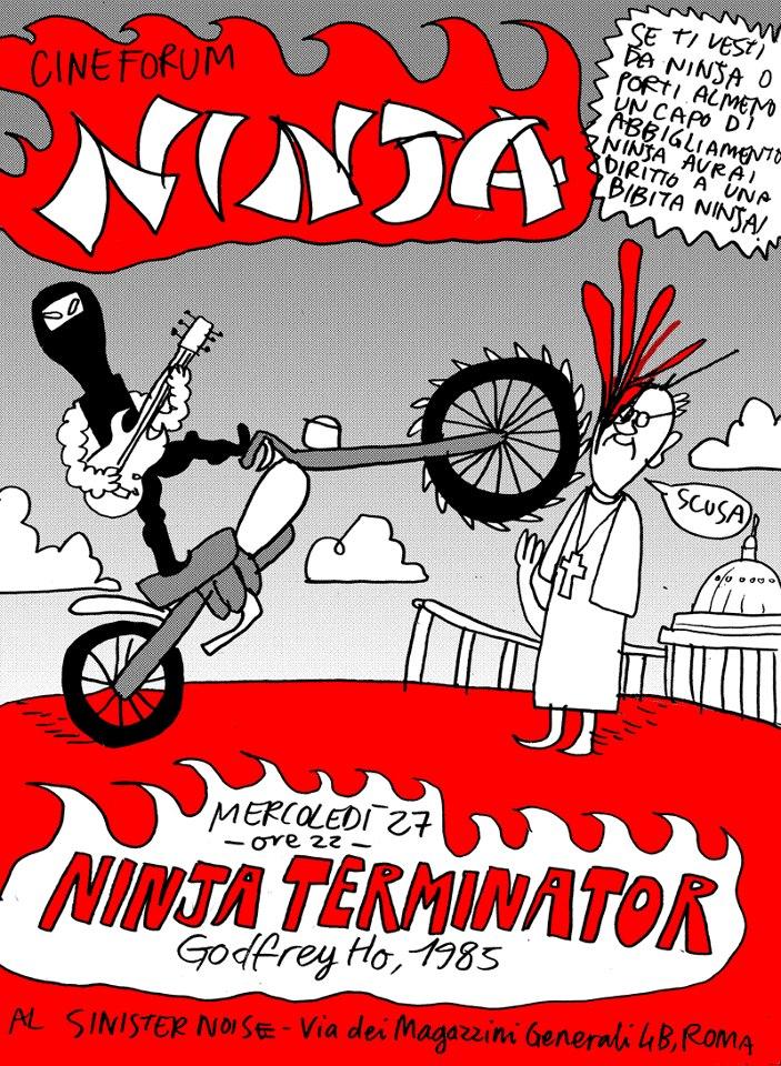 """La locandina per il """"Cineforum Ninja"""" al Sinister Noise disegnata dal Pira."""