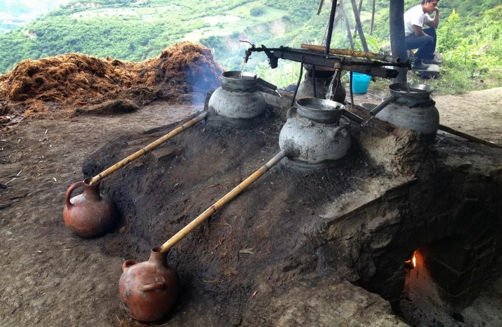 Il momento della distillazione finale dell'agave.