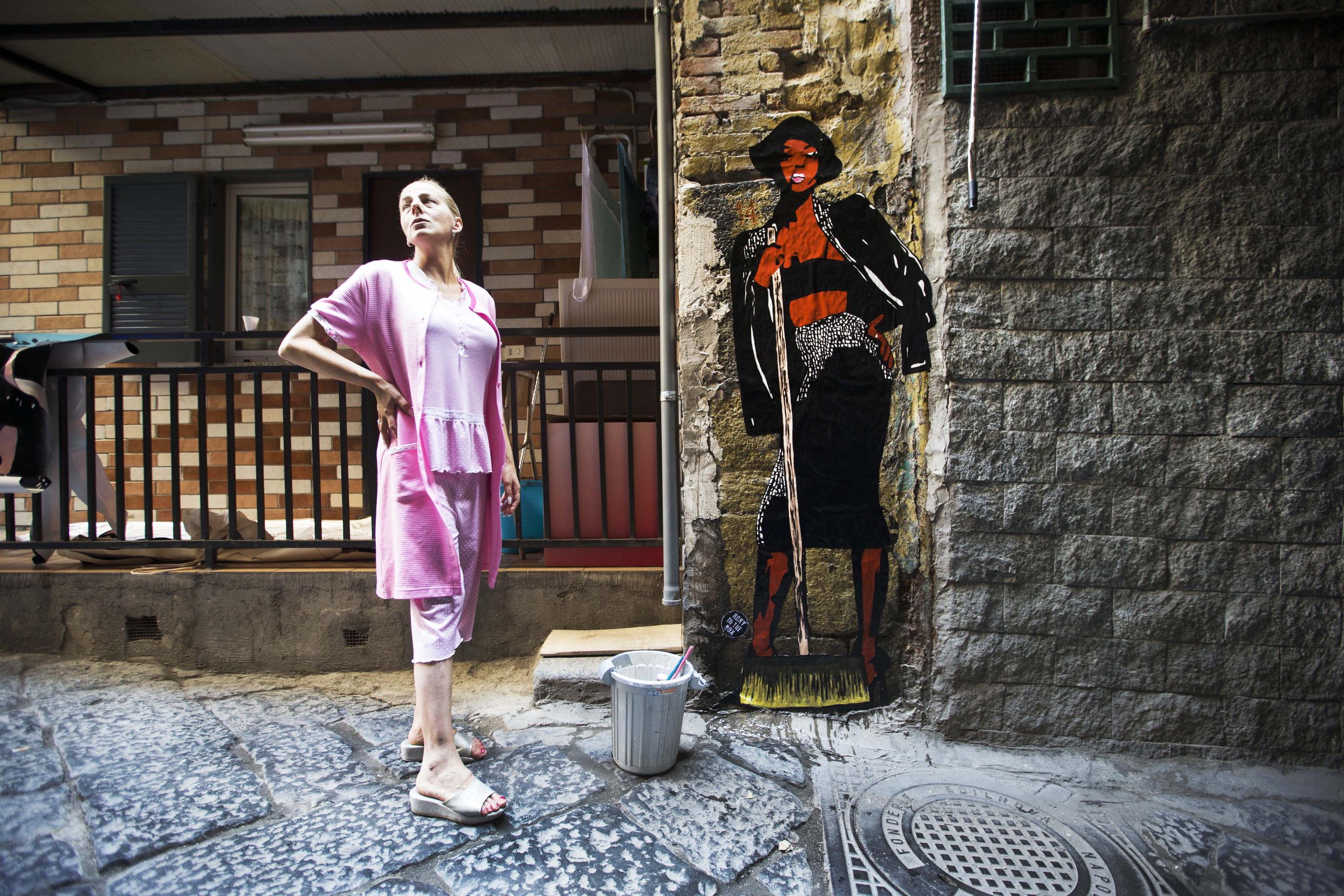 Naomi Campbella che spazza fuori a un basso. Newfotosud Sergio Siano