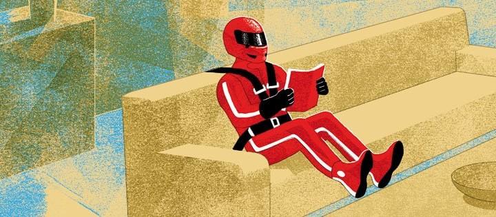 """L'illustrazione di Angelo Monne per l'articolo """"La velocità uccide"""" di Mark C. Taylor. Internazionale del 09/10/2015."""