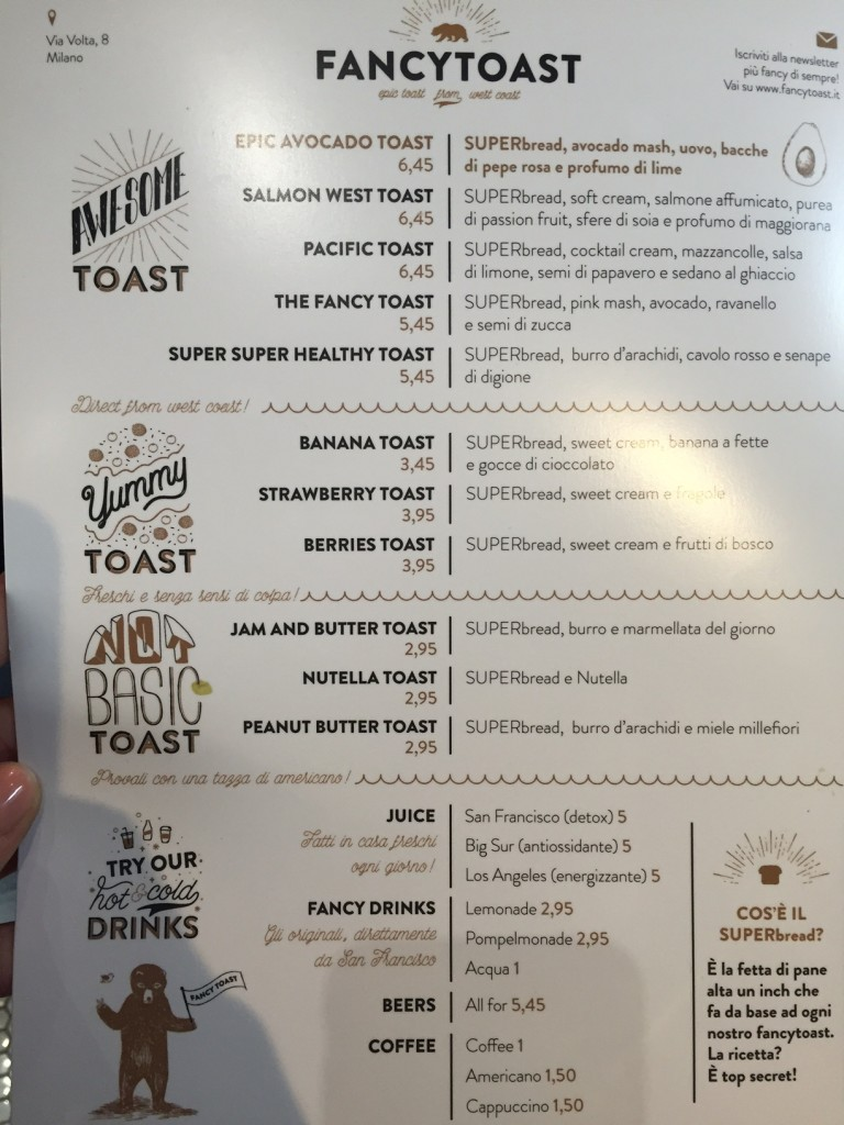Il menu di Fancy Toast