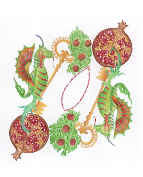 L'illustrazione di Bianca Maria Fiorentino del capitolo del menu «I racconti di fuoco (Viva il caos: ordine e disordine in giardino, 2004)»