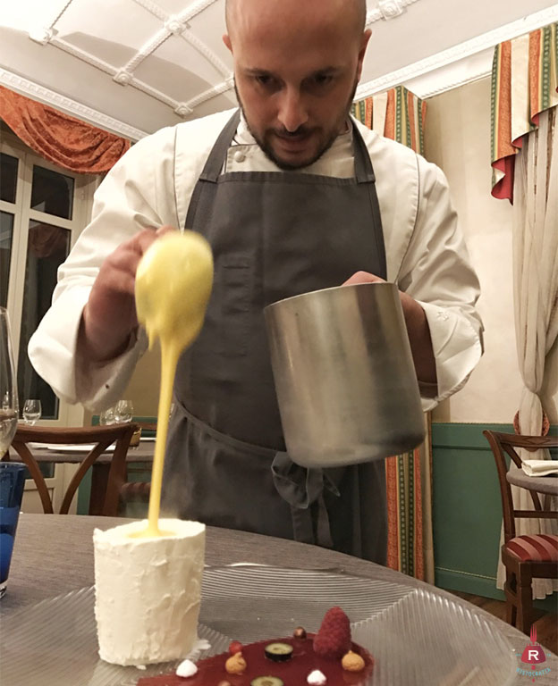 Stefano Chiodi e il dessert allo zabaione.