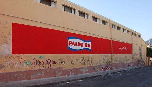 """Flavio Favelli, """"Palmira"""" - Fatto come piace a noi italiani, murale 2,20 x 24 m"""
