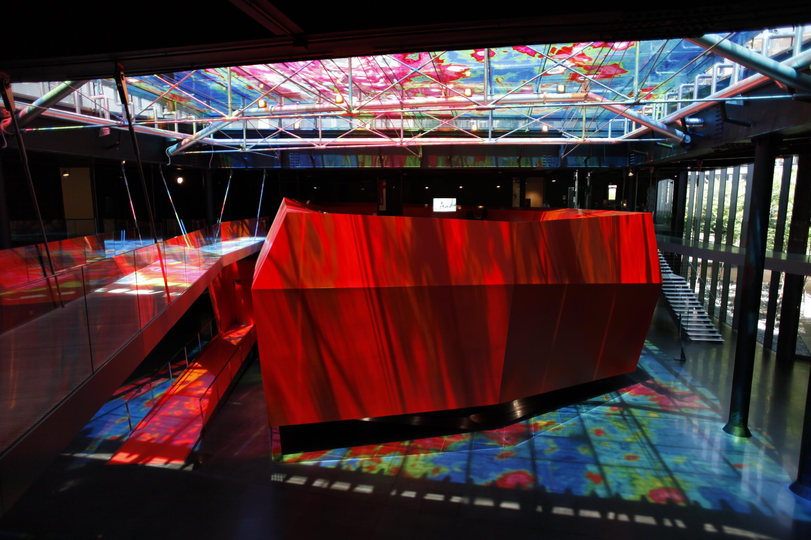 Bros. Collage di pellicole traslucide applicate su vetro al MACro di Roma realizzato per la mostra Urban Arena del 2012. Ph. P.Porto