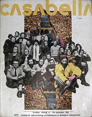 La copertina del numero di Casabella con la foto della Global Tools, notale l'esperession di Pettena