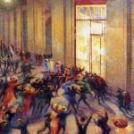 Umberto Boccioni, Rissa in galleria, 1910. Pinacoteca di Brera – Collezione Jesi