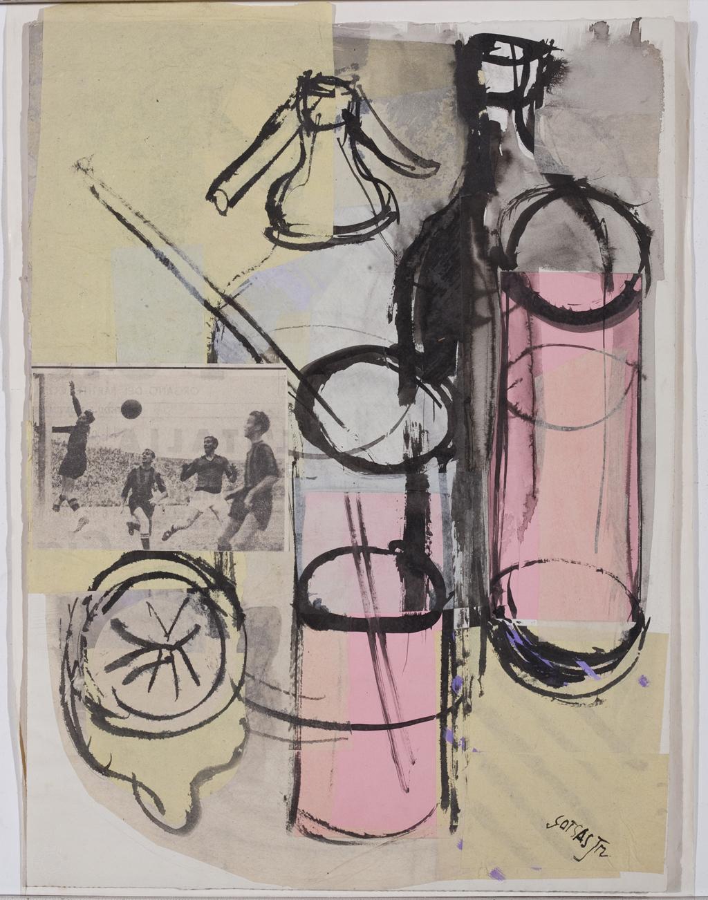 """Ettore Sottsass Junior, Studi per grafica, s. d. (1947), collage e china su carta, mm 440 x 325, sul recto: """"Sottsass Jr."""" (Progetto per grafica editoriale per Cocktails Portfolio, edizione Stamperia Artistica Nazionale, Torino)"""