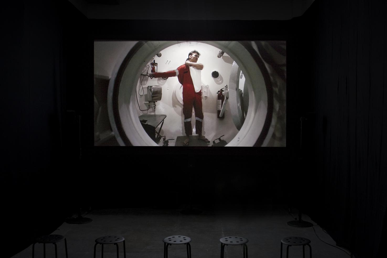 """Yuri Ancarani Piattaforma Luna , 2011 installation view, """"La Malattia del Ferro"""", ZERO..., Milano, 2012 Foto: Filippo Armellin Courtesy of the artist and ZERO..., Milano"""