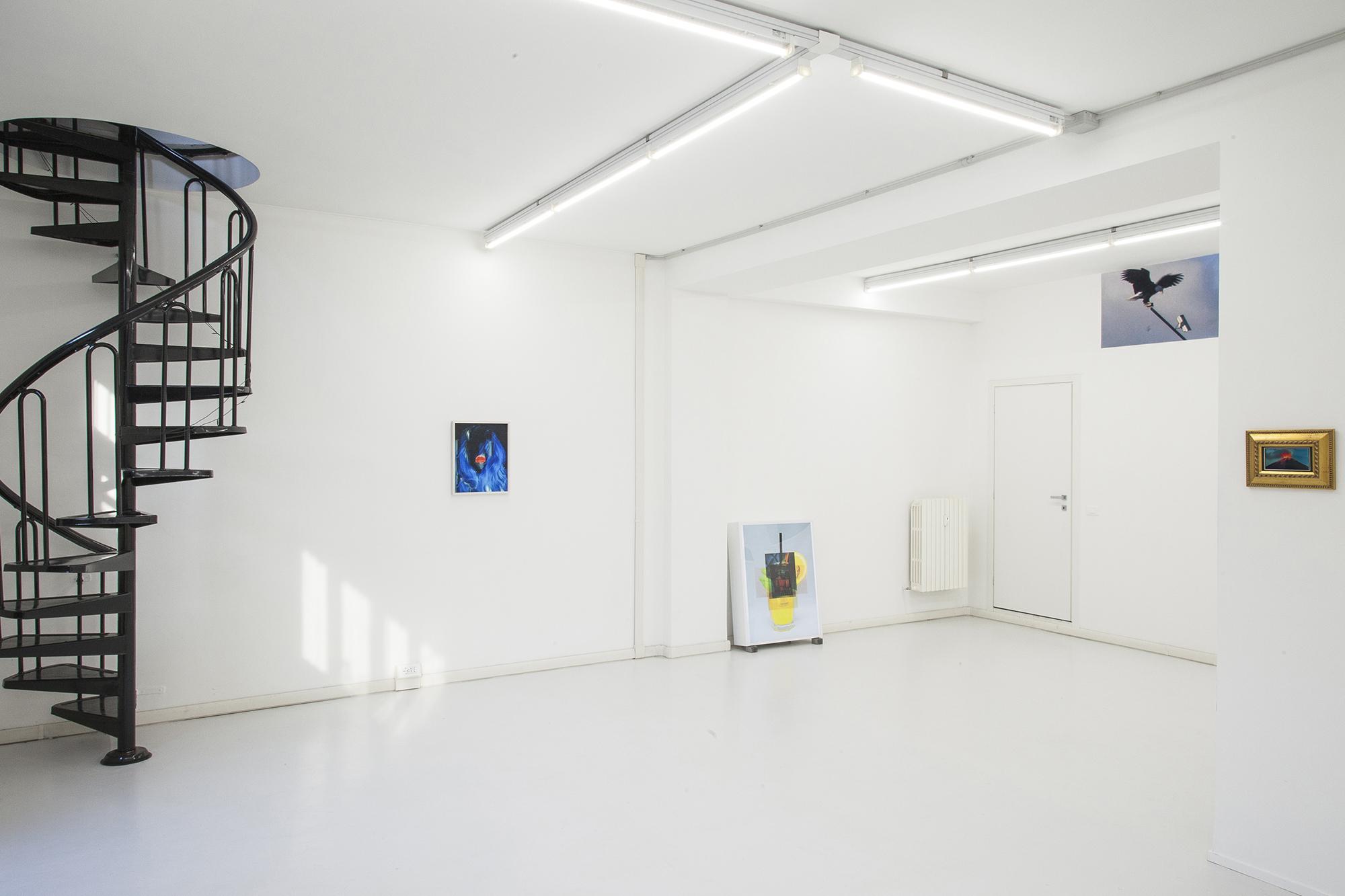 – RETINA Installation Views @ Gluqbar: da sinistra a destra Enrico Boccioletti, Alessandro Calabrese, Irene Fenara, Martina Corà