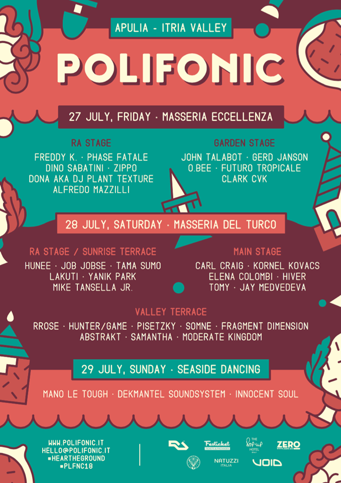 polifonic 2018 line up day by day location