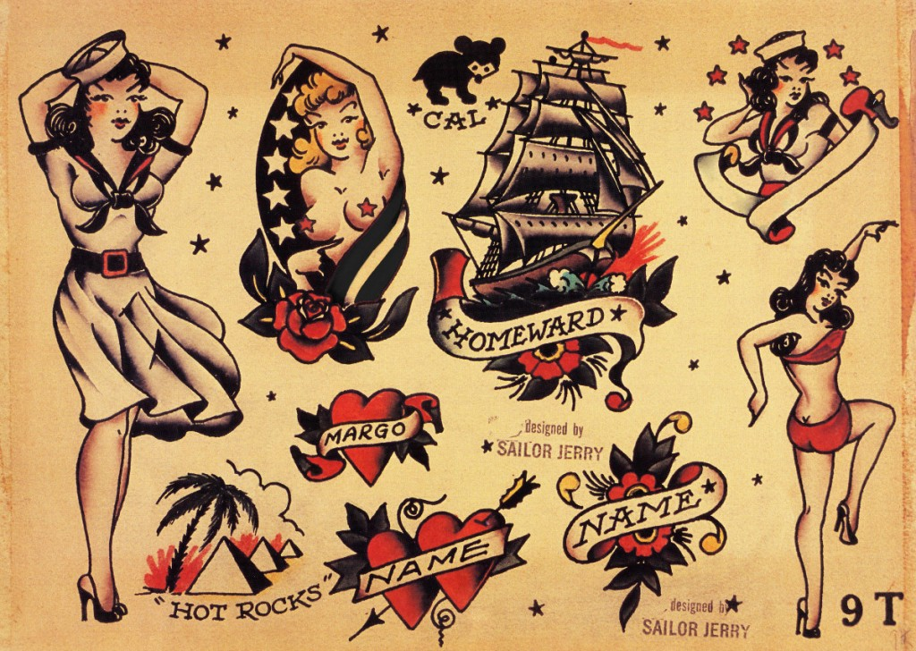 Disegni originali Sailor Jerry, particolarmente adatti ai lupi di mare.